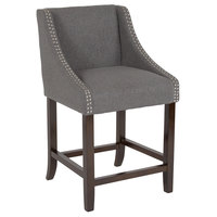 Flash Furniture CH-182020-24-DKGY-F-GG Carmel Series Counter Height Stool in Dark Gray Fabric with Walnut Frame and Nail Trim Accent