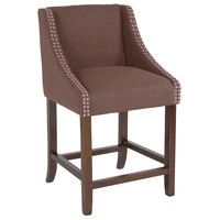 Flash Furniture CH-182020-24-BN-F-GG Carmel Series Counter Height Stool in Brown Fabric with Walnut Frame and Nail Trim Accent