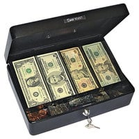 PM Company 04804 Black 9-Compartment Tray Select Spacious Size Cash Box with 2 Keys and Silver Handle