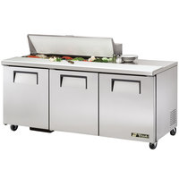 True TSSU-72-12 72 inch 3 Door Refrigerated Sandwich Prep Table