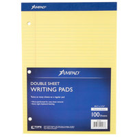 Ampad 20-223 8 1/2 inch x 11 3/4 inch Medium Ruled Canary 3-Hole Punched Writing Pad