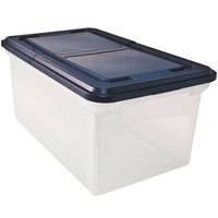 Advantus 55797 Clear Extra-Capacity File Tote with Navy Hinged Lid
