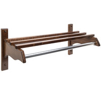 CSL TJF-1824D 21 inch Dark Oak Hardwood Top Bars Wall Mount Coat Rack and 1 inch Metal Hanging Rod