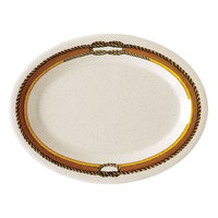GET OP-145-RD 14 3/4 inch x 10 1/2 inch Diamond Rodeo Oval Platter   - 12/Case