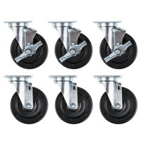 Vulcan CASTERS-RR6 Equivalent 5 inch Swivel Plate Casters for SX60 Series - 6/Set