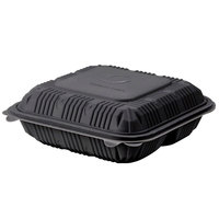 Green Wave Ultra ET-BOO-293 9 inch x 9 inch x 3 inch Three Compartment Black Take Out Box - 50 / Pack