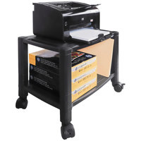 Kantek PS610 Black Wide 2-Shelf Mobile Printer Stand - 20 inch x 13 1/4 inch x 14 1/8 inch