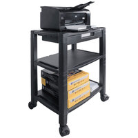 Kantek PS640 Black Wide 3-Shelf Mobile Printer Stand - 20 inch x 13 1/4 inch x 24 1/2 inch