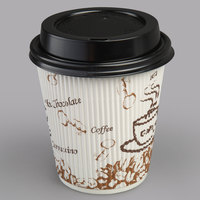 Choice 10 oz. Sleeveless Bean Print Paper Hot Cup and Lid - 100/Pack