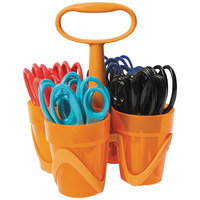 Fiskars 1234677097J 5 inch Stainless Steel Pointed Tip Kids Scissors in Assorted Colors with Carrying Caddy   - 24/Set
