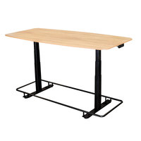 Luxor STANDECTFB72WO 36 inch x 72 inch Electric Adjustable White Oak Melamine Conference Table with Black Steel Frame and Footrest Bar