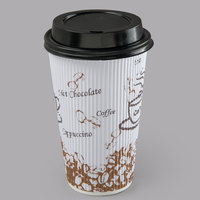 Choice 16 oz. Sleeveless Bean Print Paper Hot Cup and Lid - 100/Pack