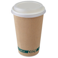 EcoChoice 16 oz. Sleeveless Kraft Paper Hot Cup and Lid - 100/Pack