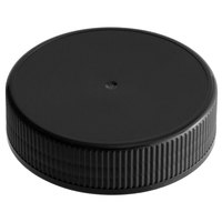 Choice Black Spice Container Lid with Flat Top and 63/485 Finish