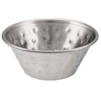 Choice 1.5 oz. Hammered Stainless Steel Round Sauce Cup