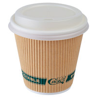 EcoChoice 8 oz. Sleeveless Kraft Paper Hot Cup and Lid - 100/Pack