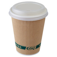 EcoChoice 12 oz. Sleeveless Kraft Paper Hot Cup and Lid - 100/Pack