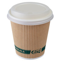 EcoChoice 10 oz. Sleeveless Kraft Paper Hot Cup and Lid - 100/Pack