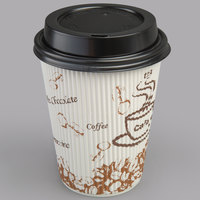 Choice 12 oz. Sleeveless Bean Print Paper Hot Cup and Lid - 100/Pack