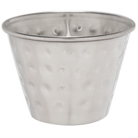 Choice 2.5 oz. Hammered Stainless Steel Round Sauce Cup