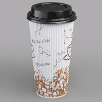 Choice 20 oz. Sleeveless Bean Print Paper Hot Cup and Lid - 100/Pack