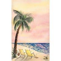 8 1/2 inch x 14 inch Menu Paper - Tropical Themed Palm Tree Design Cover - 100/Pack