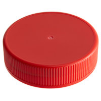 Choice Red Spice Container Lid with Flat Top and 63/485 Finish