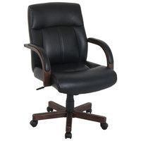 Alera ALEKA641MB Dorian Series Black Leather / Wood Trim Office Chair