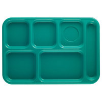 Cambro BCT1014414 Teal Budget 6 Compartment Serving Tray - 24/Case