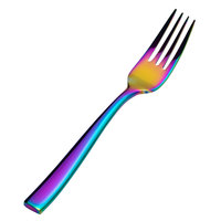 Bon Chef S3007RB Manhattan 6 3/4 inch 18/10 Extra Heavy Weight Rainbow PVD Stainless Steel Salad / Dessert Fork - 12/Pack