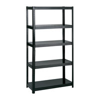 Safco 5247BL Black Steel 5 Shelf Boltless Commercial Shelving - 36 inch x 24 inch x 72 inch