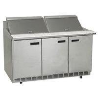 Delfield ST4472N-24M 72 inch 3 Door Mega Top Refrigerated Sandwich Prep Table with 4 inch Backsplash