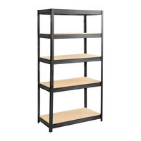 Safco 6245BL Black Steel 5 Shelf Boltless Commercial Shelving with Particleboards - 36 inch x 18 inch x 72 inch
