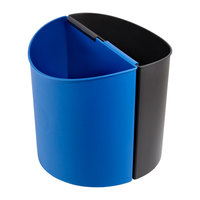 Safco 9927BB 3 Gallon Dual Black / Blue Recycle Can / Wastebasket