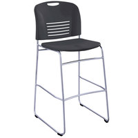 Safco 4295BL Vy Series Black Plastic Stackable Bistro Chair with Sled Base