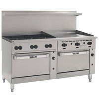 Vulcan 72RC-6B36GT Endurance 72 inch 6 Burner Natural Gas Range with 36 inch Thermostatic Griddle, Convection Oven, and Refrigerated Base - 240,000 BTU