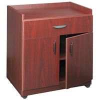 Safco 1852MH 30 inch x 20 1/2 inch x 36 1/4 inch Mahogany Laminate Machine Stand with 2-Door Cabinet and Pull-Out Drawer
