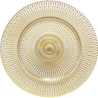 Bon Chef 200008G Tavola 13 inch Gold Truncheon Glass Charger Plate