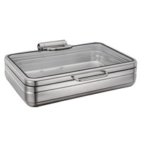 Bon Chef 22000 Magnifico 9.5 Qt. Rectangular Stainless Steel Hinged Top Full Size Induction Chafer with Glass Lid