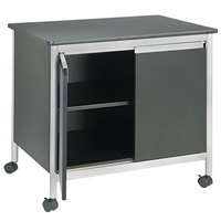 Safco 1872BL 32 inch x 24 1/2 inch x 30 1/4 inch Black Deluxe Steel Machine Stand with Shelf and Doors