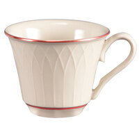 Homer Laughlin 1492-0327 Gothic Red Jade 3.25 oz. Off White China Cup - 36/Case