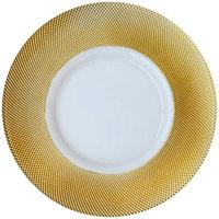 Bon Chef 200001G Tavola 13 inch Gold Diamond Rim Glass Charger Plate