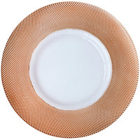 Bon Chef 200001RG Tavola 13 inch Rose Gold Diamond Rim Glass Charger Plate - 8/Pack