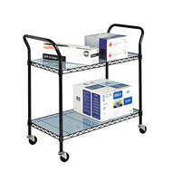 Safco 5337BL Black 2 Shelf Utility Cart