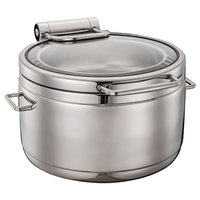 Bon Chef 22004 Magnifico 11 Qt. Stainless Steel Hinged Top Induction Soup Chafer with Glass Lid