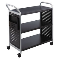 Safco 5339BL Black / Silver 3 Shelf Utility Cart