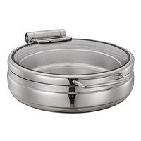 Bon Chef 22001 Magnifico 6 Qt. Round Stainless Steel Hinged Top Full Size Induction Chafer with Glass Lid