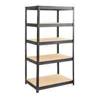 Safco 6247BL Black Steel 5 Shelf Boltless Commercial Shelving with Particleboards - 36 inch x 24 inch x 72 inch