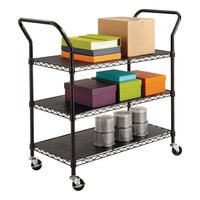 Safco 5338BL Black 3 Shelf Utility Cart