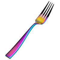 Bon Chef S3017RB Manhattan 8 3/8 inch 18/10 Extra Heavy Weight Rainbow PVD Stainless Steel European Size Dinner Fork - 12/Pack
